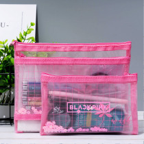 Kpop BlackPink Pencil Case Quicksand Grid Stationery Bag Storage Bag Korean Version Zipper Stationery Bag File Bag