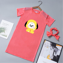 Kpop BTS T-shirt Bangtan Boys Short-sleeved T-shirt Cartoon Cute Home Service Mid-length Dress Dress Hair Band Two-piece