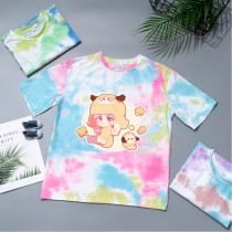 Kpop BTS T-shirt Bangtan Boys Short Sleeve Korean Cute Casual Wear Tie-dye Hong Kong Style Gradient Color Short Sleeve TATA KOYA
