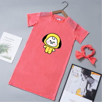 Kpop BTS T-shirt Bangtan Boys short-sleeved T-shirt Cartoon Cute Home Wear Dress Pajamas Night Skirt Mid-length