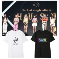 Kpop Everglow T-shirt Album HUSH5 Short Sleeve T-shirt Loose Bottoming Shirt Short Sleeve