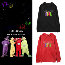 Kpop MAMAMOO Sweater Teletubbies Hooded Sweater Cute Loose Lovers Dress Plus Velvet Thin Coat Sweatshirt