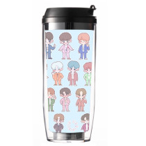Kpop SEVENTEEN Water Cup Hand-painted Straw Cup Plastic Cup Double-layer Portable Accompanying Cup