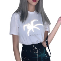 Women Reflecitve Print T Shirt With Spider 92516P
