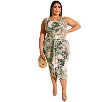 Plus Size Floral Crop Top And Skirt Set 19329