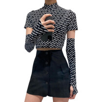 Letter Print Crop Top With Removed Sleeve 26026p