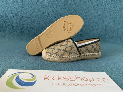 Chevron raffia espadrille with Double G