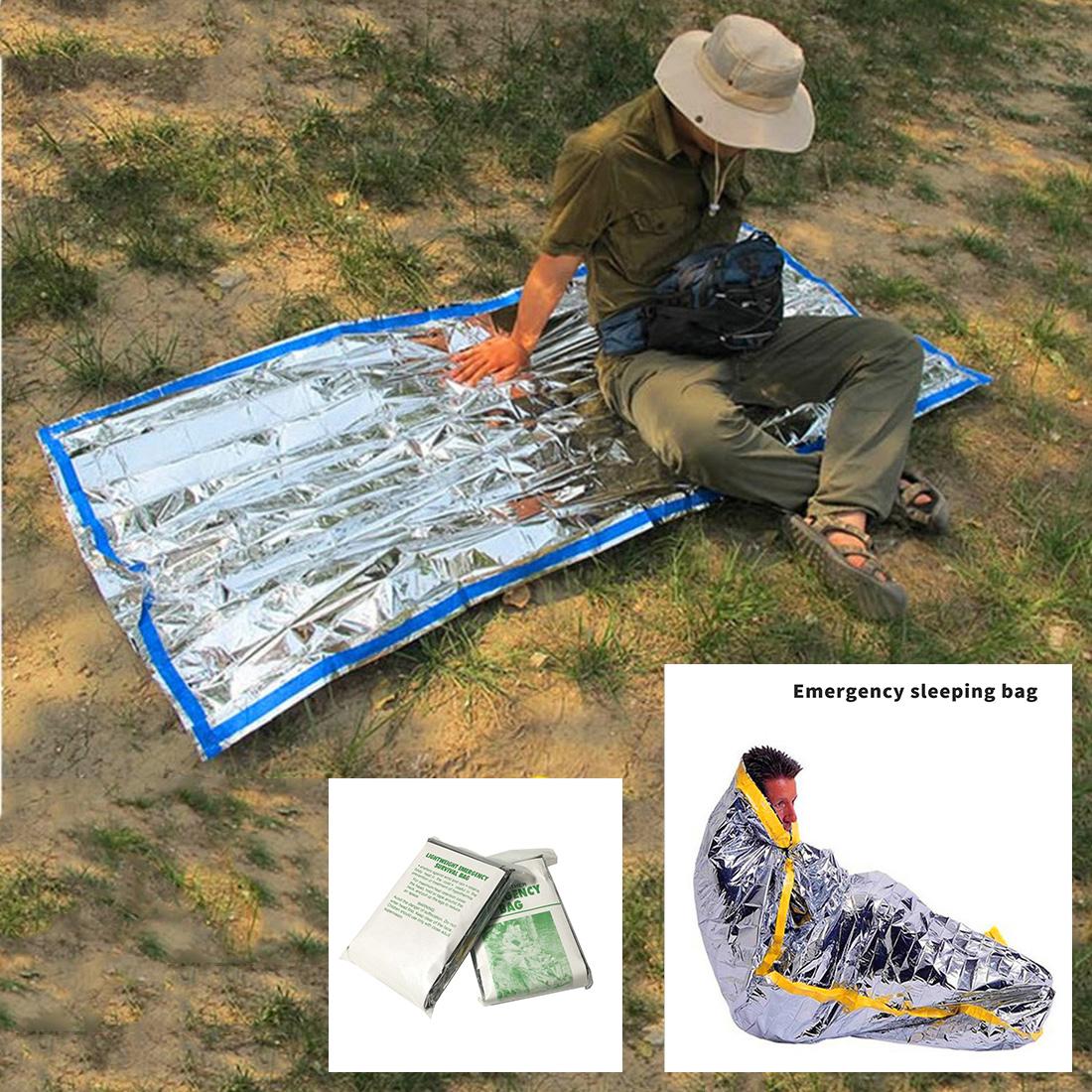 Emergency Sleeping Bag Thermal Waterproof Reusable Survival Silver Foil