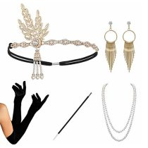 5Pcs/set Women 1920S Headband The Great Gatsby Cosplay Stage Performance Retro Feather Headband Necklace Earring Accessories Set