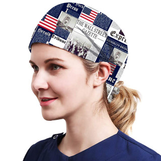 One Size Working Cap with Sweatband Adjustable Tie Back Hats Printed for Women,Print18