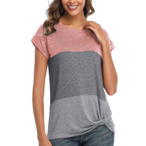 Womens Round Neck Triple Color T-Shirt,SS Pink