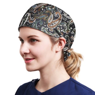 One Size Working Cap with Sweatband Adjustable Tie Back Hats Printed for Women,Print01