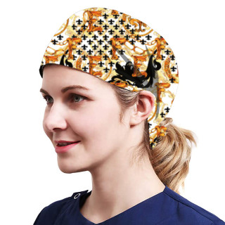 One Size Working Cap with Sweatband Adjustable Tie Back Hats Printed for Women,Print06