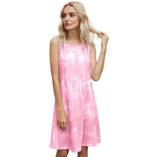 Womens Tie Dye Printed Casual Sleeveless Dresses,3309 Pink