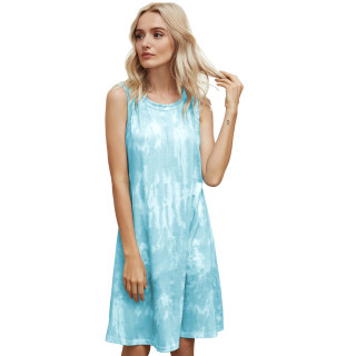 Womens Tie Dye Printed Casual Sleeveless Dresses,3309 Green