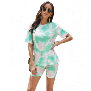 Womens Tie Dye Printed Short Sleeve Tops and Shorts 2 Piece Pajamas Sets,9806 Green