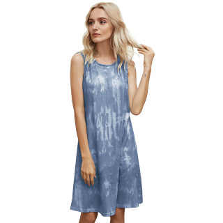 Womens Tie Dye Printed Casual Sleeveless Dresses,3309 Navy