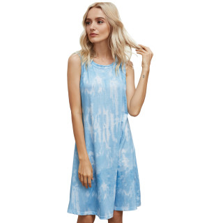 Womens Tie Dye Printed Casual Sleeveless Dresses,3309 Blue