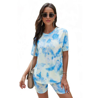 Womens Tie Dye Printed Short Sleeve Tops and Shorts 2 Piece Pajamas Sets,9806 Blue