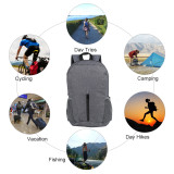 Lightweight Sport Backpack Packable Hiking Daypack Foldable Small Travel Camping Bicycle Canvas Bag for Women Men (Grey)