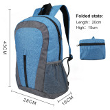 Lightweight Sport Backpack Packable Hiking Daypack Foldable Small Travel Camping Bicycle Canvas Bag for Women Men (Blue)