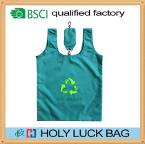 recycled materials rpet or nylon folding shopping bag with pouch HL-RP003