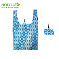 Full Printing Rpet Made The Ultimate Grocery Bag Blue Color Recycled Bag With Elastic Loop