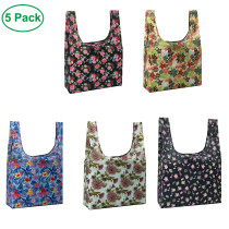 New Design Recycled Tote Bag Full Printing Flowers Reusable Shopping Bag five pieces in a set