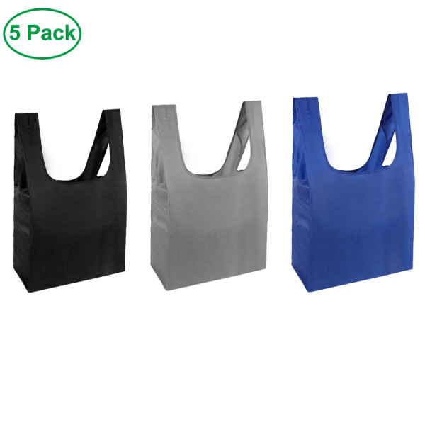 Free shipping Grocery Bags Reusable Foldable 5 Pack Shopping Bags Ripstop Polyester Reusable Shopping Bags,Washable, Durable and Lightweight - grey