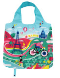 Eco Friendly Sublimation Flamingo Eco Friendly Polyester Shopping Tote Bag With Roll Up Function