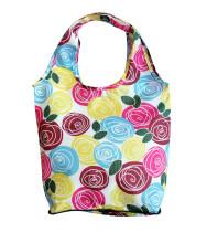 HOLYLUCK Flower Full Printing Ripstop Tote Bag Zipper Pouch Foldable Shopping Bag