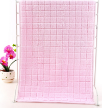 37x76 - Pink 100% Cotton Grid Hand Towels