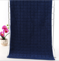 37x76 - Dark Blue 100% Cotton Grid Hand Towels