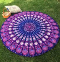 150x150 -  Purple Peacock Feather Pattern Round Chiffon Printed Beach Towel