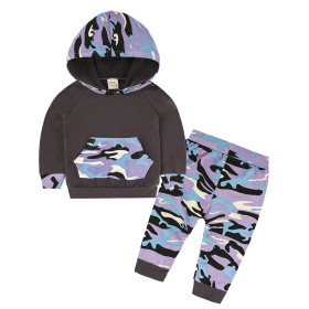 Baby cotton camouflage hooded suit