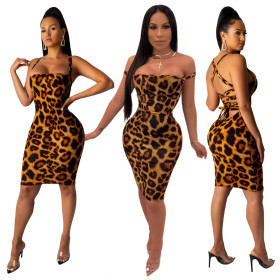 Sexy leopard-print dress with bare-back straps and chest-wrapped