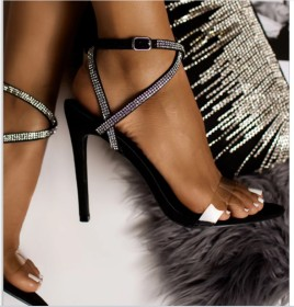 Rhinestone high heel Roman stiletto with transparent sandals