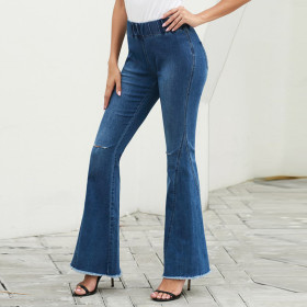 Washed denim elastic elastic elastic waist flared pants