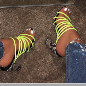 Thick heel high-heeled Roman snake lace up sandals