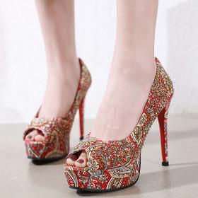 Waterproof platform high heel fish mouth single shoe thin heel rivet women's shoes