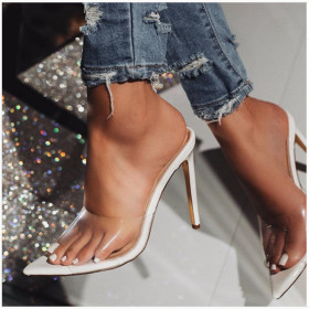 Pointy sexy slim high heels transparent large size sandals