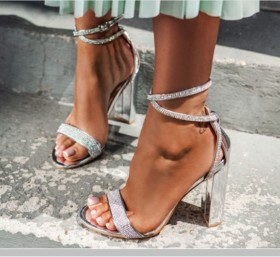 Thick heel Rhinestone high heel open toe cross strap sandal
