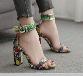 Colorful serpentine one word sandals with high heels and thick heels