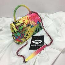 Colorful graffiti Lingge bag small square bag