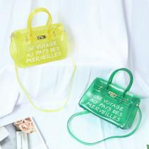 Transparent jelly bag Women's handbag with one shoulder and slant span