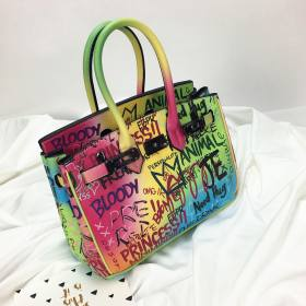 Fashion rainbow graffiti platinum bag