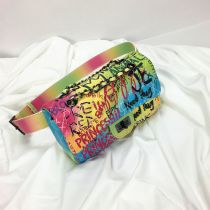 Colorful graffiti rhombus bag broadband waist bag Single Shoulder Messenger chain bag