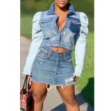 Sexy fashion short women's slim denim coat