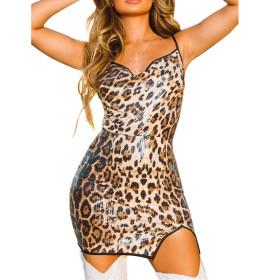 Sexy fit leopard print bra dress
