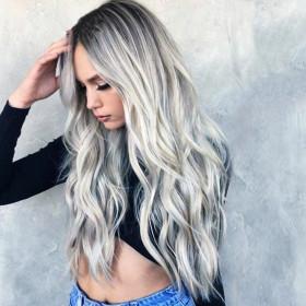 Cos grey gradient medium length curly hair